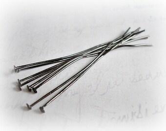 50 x Gun Metal Flat End Head Pins GMHP002