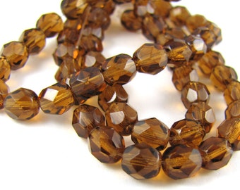 Smoky Topaz 6mm Facet Round Czech Glass Fire Polished Beads #90