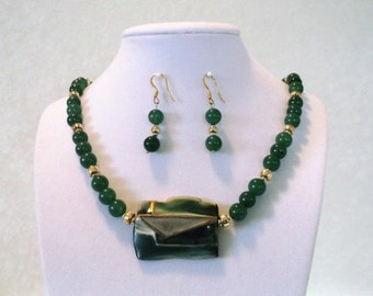 Dark Green Aventurine-Gold-Silver-Porcelain 22 inch Pendant Necklace and Earrings Set One of a Kind