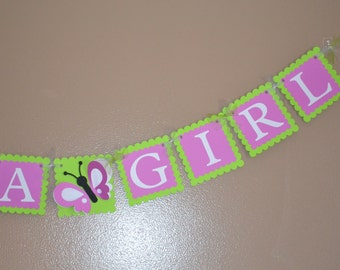 Its A Girl Butterfly (3D) Banner - Baby Shower - Baby Girl - Welcome Banner