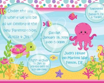GIRLS Under the Sea Baby Shower Invitation