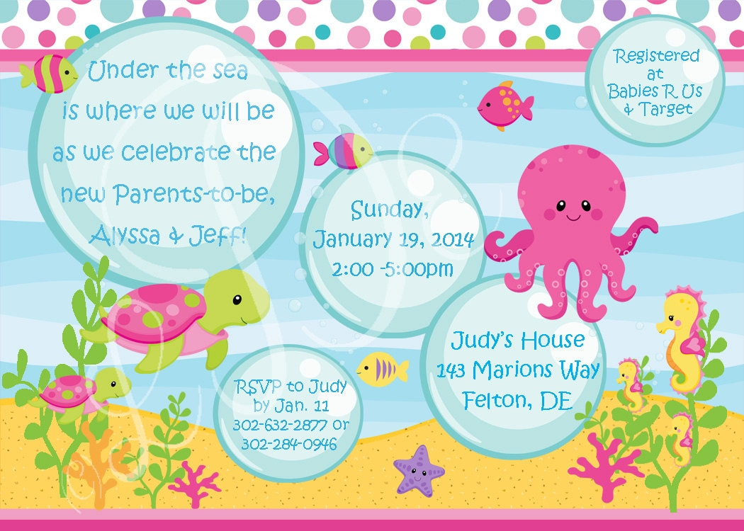 girls under the sea baby shower invitation
