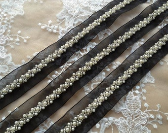 Beaded Lace Trim, Pearl Beads Lace, Beaded Ribbon Trim, Headbands, Jewelry, Costumes, Crafts