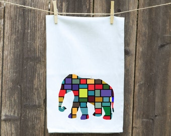 Elephant Flour Sack Towel-Tea-Dish-Hand-Kitchen-Custom-Personalized-Animals-Circus-Checkered Elephant