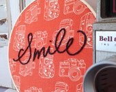 smile . vintage camera hand embroidery . cool gift idea . photographer . gallery wall . inspirational . positive . fun .