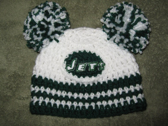 Crochet Beanie Baby Hat New York Jets Colors By