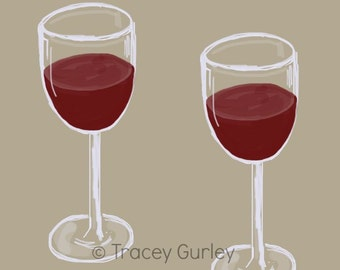 Red Wine clip art, wine clipart, red wine glass art, digital download, digital clipart, commercial use small
