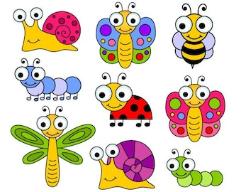 Cute Bugs Clip Art, Insects Clipart, Ladybug, Snail, Dragonfly, Bee - YDC124