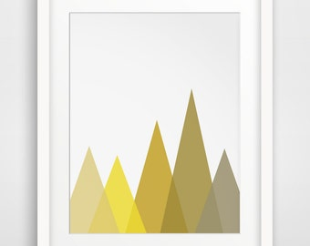 Yellow Mountain Print, Mustard Geometric Mountains, Yellow Geometric Print, Mustard Yellow Mountain Wall Art, Yellow Mountains Printable