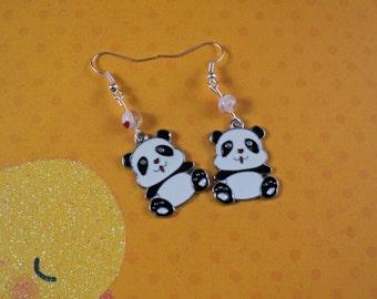 Cute Kawaii Panda Earrings with Beads