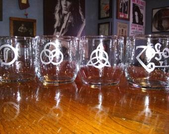 Led Zeppelin Symbols Etched Rocks Glasses