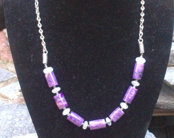 Amethyst and quartz 925 Sterling Silver  necklace