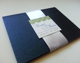 Navy Blue and Green Peony Wedding Invitation