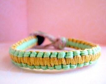 Sea Foam Green and Tan Bracelet