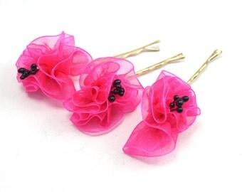 Fuschia  Organze Ribbon Flower, Wedding Bobby Pin-3pcs
