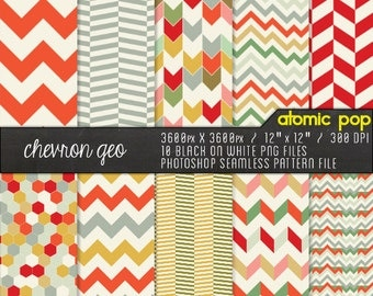 SALE Instant Download // Colorful Geometric Chevron Digital Paper Pack// Seamless Photoshop Patterns