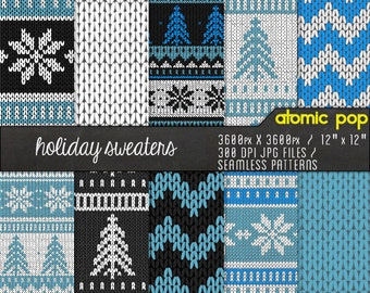 Instant Download // Blue Knit Sweater Texture Holiday Digital Paper Pack// Seamless Tiles // Christmas snowflakes chevron Scrapboking