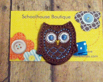 Chocolate Owl Felt Hair Clips, Felties, Feltie Hair Clip, Felt Hair Bow, Felt Hair Clippie, Party Favor