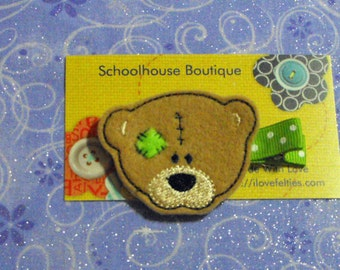 Teddy Bear with Patch Felt Hair Clips - Multiple Colors Available -  Felties - Feltie Hair Clip - Felt Hair Clips - Party Favor