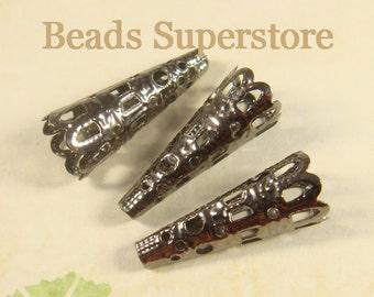 SALE 22 mm x 9 mm Gunmetal Filigree Bead Cone - Nickel Free and Lead Free - 25 pcs