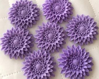 2 pcs 36 mm Purple Cabochon flower,36 mm purple resin flower,lavender cabochon,cabochon flower, 36 mm purple flower, 36 mm resin cabochon