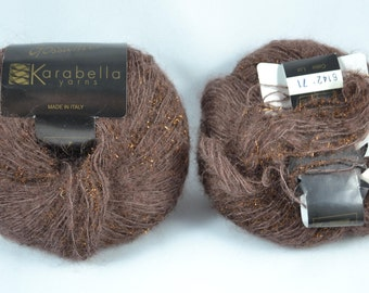 2 Partial Skeins of Karabella Gossamer Yarn No 6142 Brown w/Copper , Same Lot, Made in Italy, Very Good Condition
