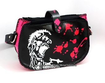 Handmade Leather ZOMBIE purse in pink and black