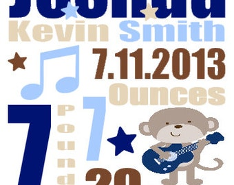 Personalized Baby Birth Annoucement Stat Wall Rockstar Monkey Guitar Art Boy Baby Rock Star Music