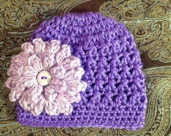 Pretty Purple Crochet Baby Girl Hat with lavender flower,  Made to Order , Baby Girl  Hat with Flower,  Photo Prop Beanie