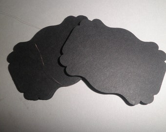 50 black journal tags perfect for scrapbooking, cards, embellishments
