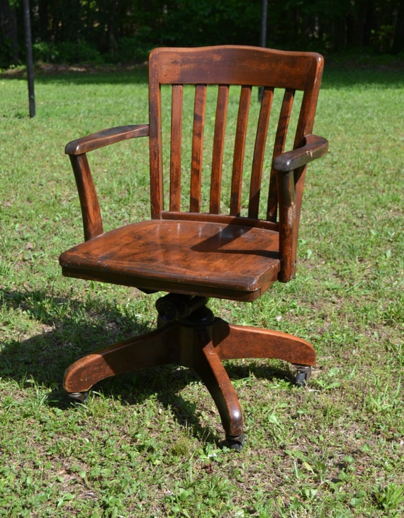 RESERVED Vintage Wood Oak Office Chair Swivel Wheels