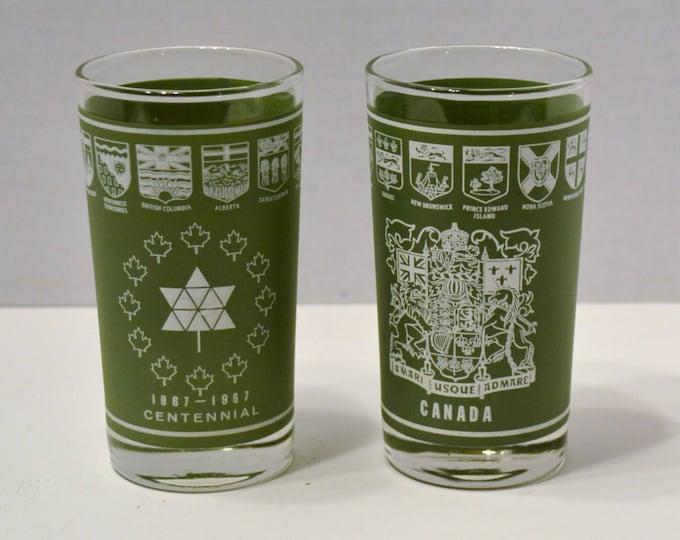 Vintage Dominion Glass Canada Centennial Glass Tumbler Set of 2 Green Barware Souvenir PanchosPorch