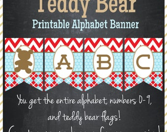 Teddy Bear Banner - Printable Alphabet - Instant Download