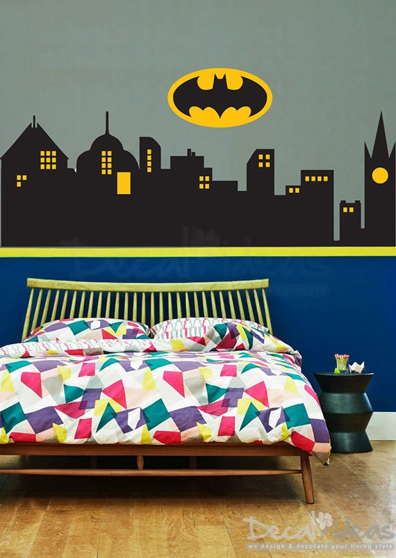 Superhero wall decal city skyline vinyl decal gotham city for Batman wall mural decal