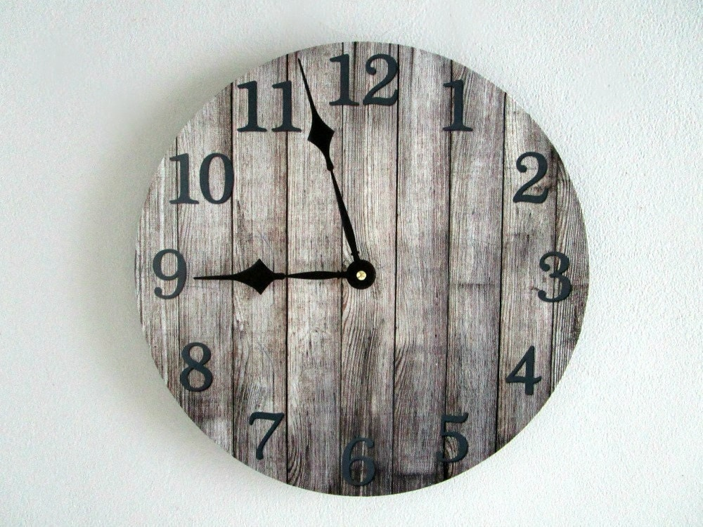 rustic wall clock on 12 vinyl lp record gray by goldendaysdesigns