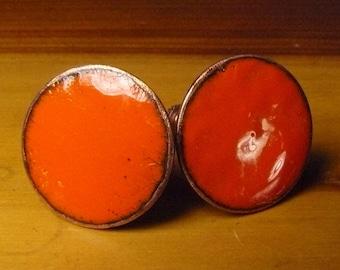 Orange Enamel on Copper Earrings Screw Back Round