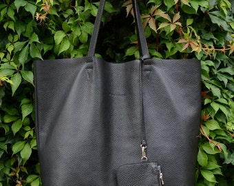 Black Pebbled Leather Tote, Oversized Tote Bag, Leather Shopping Bag, Shopper Bag ''Not Only Tote''