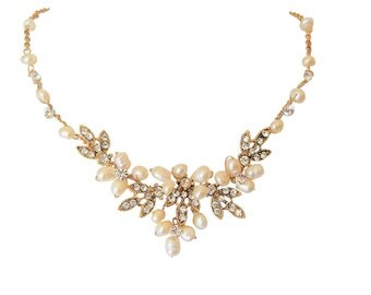 Antique Gold, Ivory Freshwater Pearl & Diamante Wedding Necklace