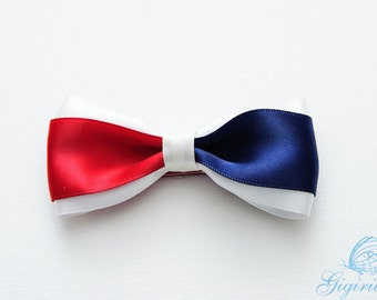July 4th red white blue Hair Bow hair clip - 4th of July  American Flag ribbon Hair Bow - adult hair accessories