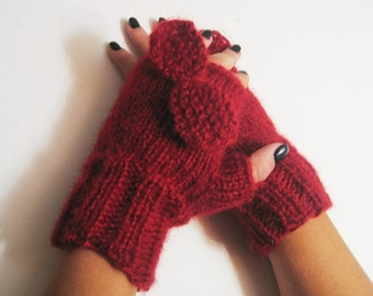 Red Fingerless Gloves with a bun, Knitting Gloves, Gloves Mittens, Arm warmers. Winter Accessories