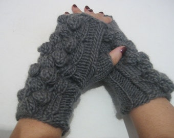 women fingerless gloves Cable Knitted Fingerless Gloves Mitts Gray Mittens Wristwarmers winter accessory handmade half gloves woman gloves