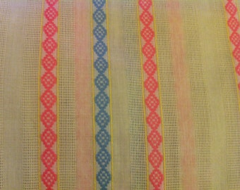 Cream cotton woven with pink blue and yellow