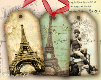 Paris Tags - Digital Collage Sheet - Digital Paper - Scrapbook - Gift Tags - Gift Cards - Vintage Tags - Scrapbook - Hang Tags - Printables