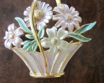 Vintage Basket Brooch Spilling Over with Enamel Flowers