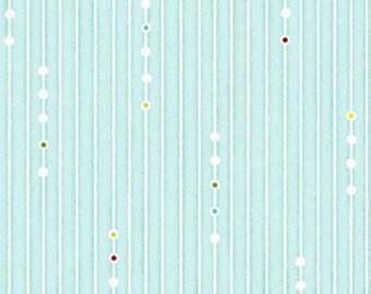 One Yard Ho-Ho-Ho Let It Snow - Garlands in Aqua - Christmas Holiday Cotton Fabric Line Designed by Nancy Halvorsen for Benartex (W962)