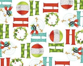 Half Yard Ho-Ho-Ho Let It Snow - Ho-Ho-Ho in Multi White - Christmas Holiday Cotton Fabric Line By Nancy Halvorsen for Benartex (W979)