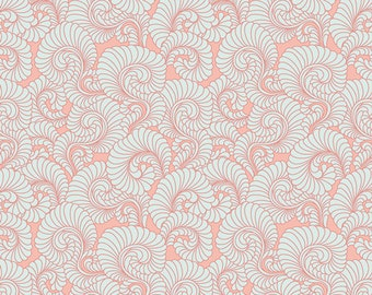 One Yard REMNANT Drift - Feathered Coral in Light - Cotton Quilt Fabric - from Angela Walters for Art Gallery  (W1698)