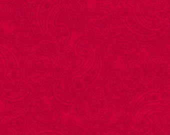 Half Yard Winter Enchantment - Paisley in Red - Cotton Quilt Fabric - by Bee Sturgis for Quilting Treasures (w1896)