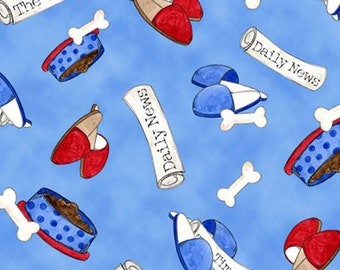 Half Yard A Dog's Life - Bones, Newspaper, Slippers Toss in Blue - Cotton Quilt Fabric - Tara Reed Designs for Quilting Treasures (W2069)
