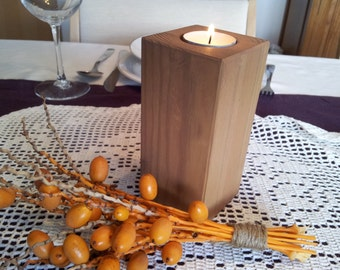 Solid wooden candle holder. Fir wood